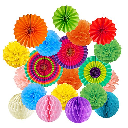 Cocodeko Hanging Paper Fans Tissue Paper Pom Poms Flower and Honeycomb Balls for Birthday Party Wedding Festival Christmas Decorations - Colorful - Birthday Party Honeycomb