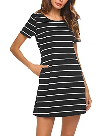 005cf6dac5 Feager Women s Casual Striped Criss Cross Short Sleeve T Shirt Mini Dress  with Pockets (S