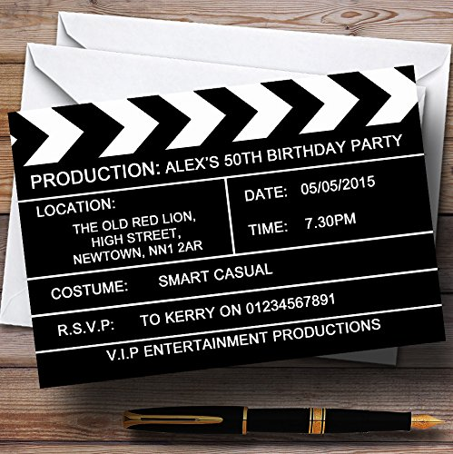 Hollywood Movie Clapboard Clapper Theme Personalized Birthday Party Invitations -