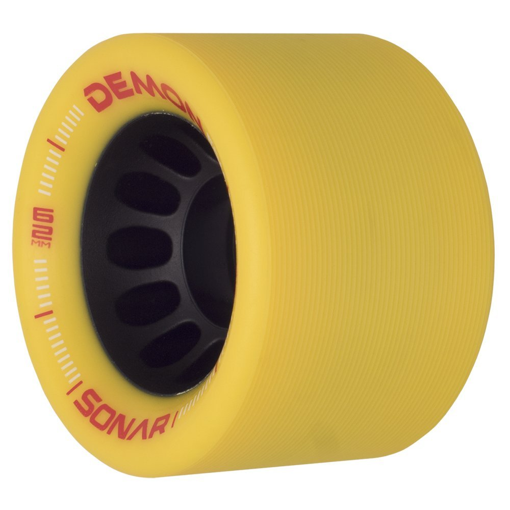 Riedell Skates Sonar Demon EDM 62mm Indoor Skate Wheels (Set of 4) (Yellow) by Riedell