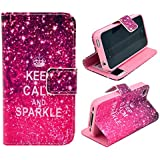 iphone 4 Case,iphone 4S Case, Welity Retro Keep Calm and Sparkle Printed Design Pu Leather with wallet Case for Apple iPhone 4/4S/4G and one gift