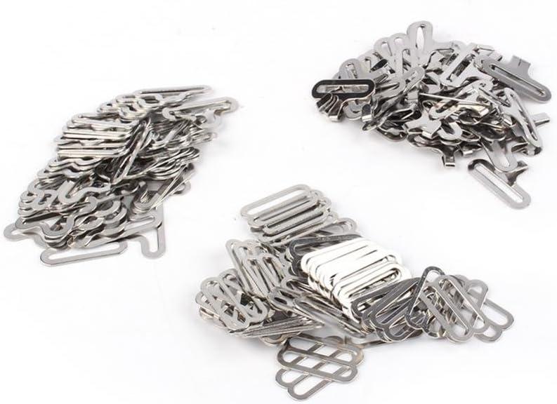 50 Sets Bow Tie Hardware Cravat Clip Electroplated Metal Adjustable Hook Fastener for Necktie Strap Silver Color