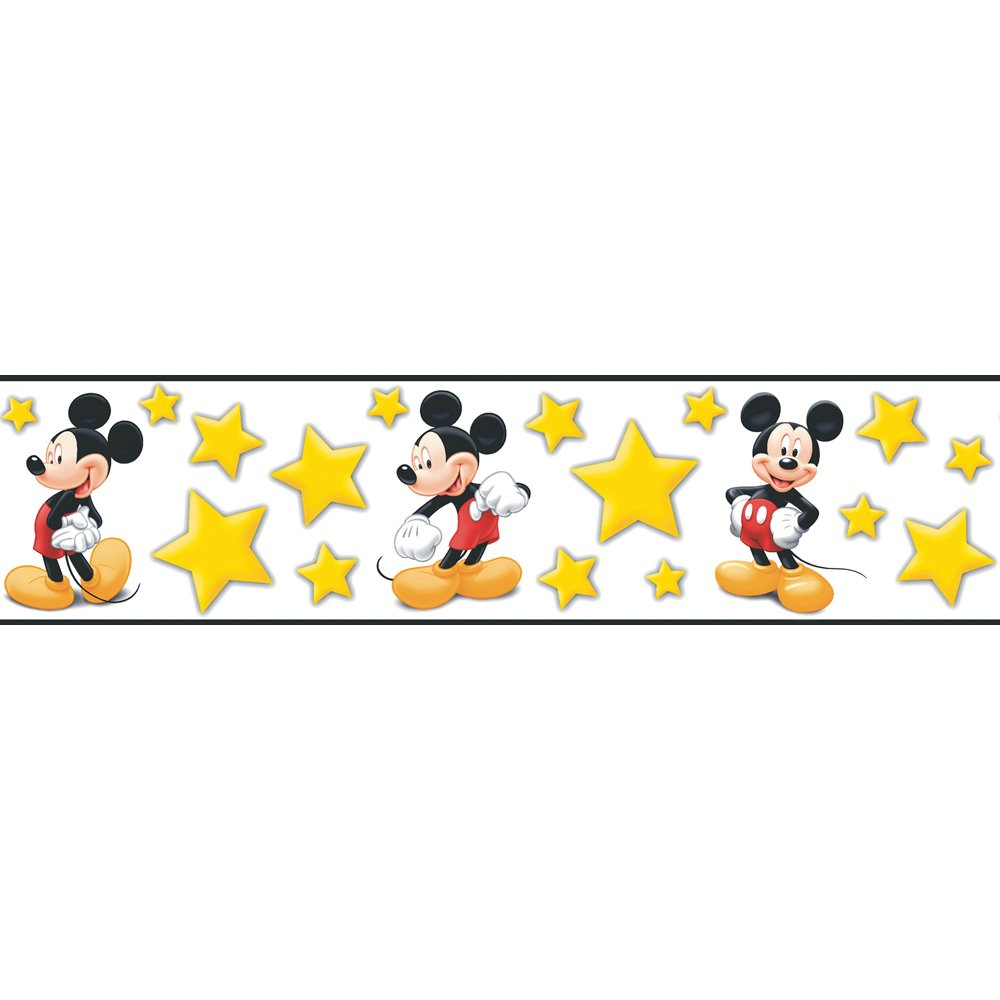 buy imperial disney home df059291b mickey stars border yellow 5 25 rh amazon in Mickey Head Border Mickey Head Border