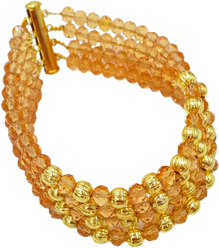 laanc 10 Rows Gold Champagne 6mm Crystal African Beads Nigeria Jewellery Wedding Sets A-025Digerian