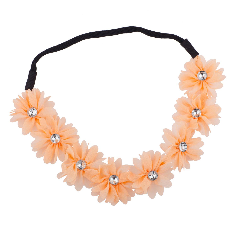 Lux Accessories - Bandeau Élastique Paix Fleur Floral Avec Détails En Strass H31621-2-H31