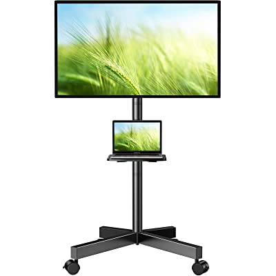 TAVR Mobile TV Cart on Wheels for 23-55 Inch LCD LED OLED Plasma Flat Screen TVs,Portable tv Stand with Height Adjustable and Laptop Shelf Rolling Floor Stand Holds Up to 88lbs Max VESA 400x400mm