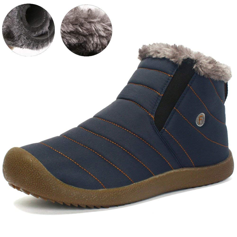 JIONS Women Mens Ankle Snow Boots Waterproof Anti-Slip Ankle Sneakers Warm Fur Lined Winter Shoes