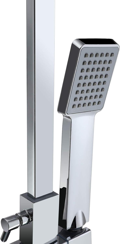 Moderno Sfeomi Columna de Ducha Cuadrada 200 mm 8 pulgadas Mezclador de Ducha de Ba/ño Cromado Altura Ajustable de 800 mm a 1200 mm Ducha de Lluvia Ducha de Mano