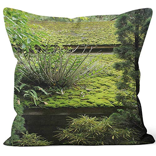 Nine City Green Moss and Plant are Covered on The roof Throw Pillow Cushion Cover,HD Printing Decorative Square Accent Pillow Case,16