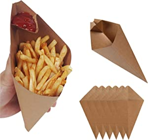 Leepro 100 pcs Food Cones with Dip Pocket, Disposable Kraft Paper French Fries Cones with Dipping Sauce Compartment, Oil Proof Bag Triangle Chips Box Fast Food Box (11x8.5x4.5
