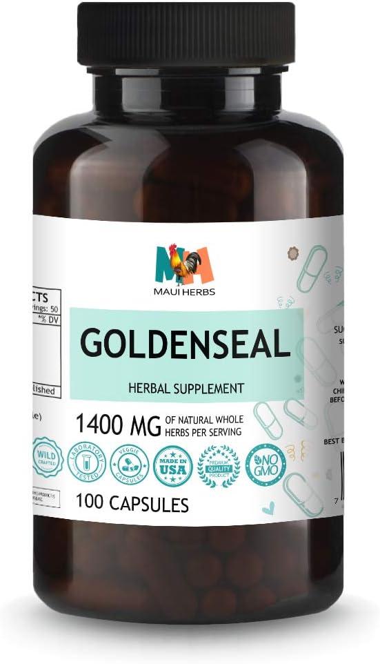 Goldenseal 100 Capsules, 1400 MG per Serving, Goldenseal Root (Hydrastis Canadensis L.)