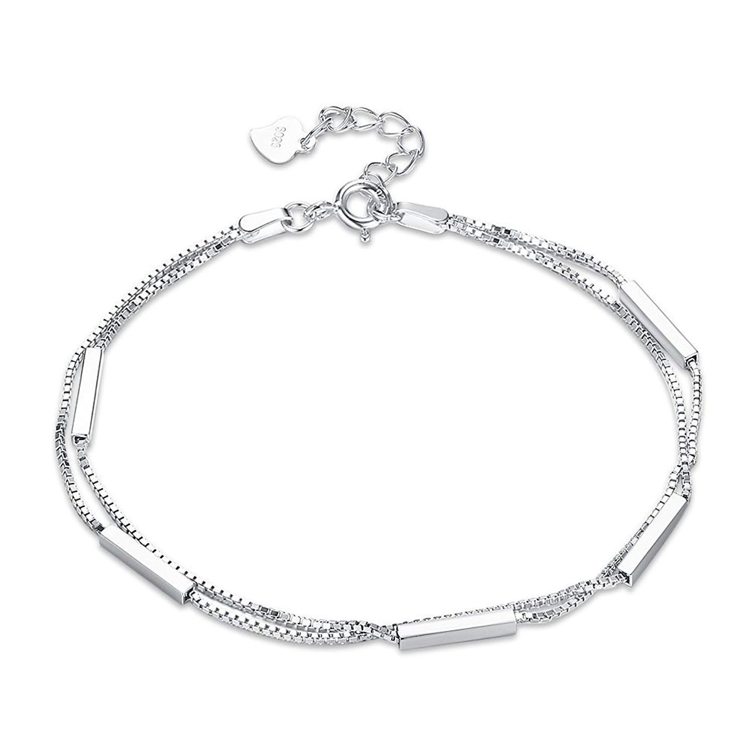 DVANIS 925 Sterling Silver Bracelet Double Thin Chain Fashion Simple Style Wedding Women
