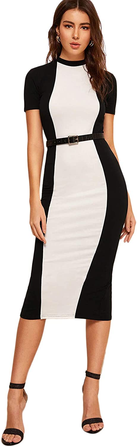 SheIn Women's Short Sleeve Elegant Sheath Colorblock Pencil Bodycon Dress