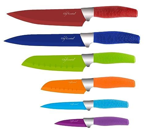 Amazon.com: Juego de 6 cuchillos Chef Essential con fundas a ...