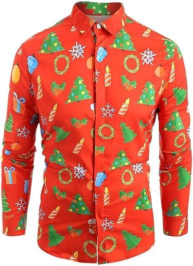 ღLILICATღ Camisa de Manga Larga Estampada para Hombre Otoño Invierno Blusa de Impresión de Navidad La Solapa Tops de Slim Fit Casual Múltiples Estilos: Amazon.es: Ropa y accesorios