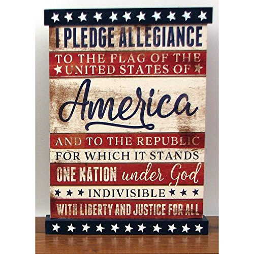 I Pledge Allegiance Wood Sign   Wall Patriotic America Flag Plaque