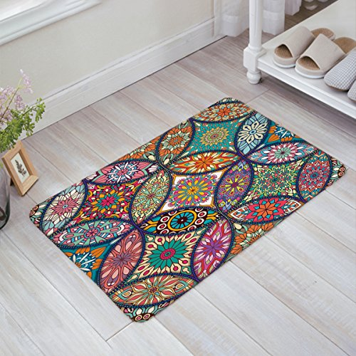 Doormat Kitchen Bathroom Soft Durable Accent Rug Small Carpet Mat Easy To Clean Modern Woven Hearth Mat Light 18x30 inch,Colorful different mandalas by Cloud Dream