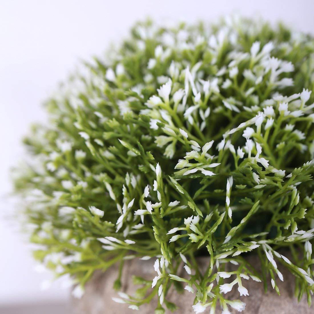 1 St/ück Ksnrang K/ünstliche Gr/ün Gras Bonsai Kunstpflanze mit grauen Topf plastikpflanzen Gef/älschte Pflanzen f/ür Hochzeit//B/üro//Zuhause Dekoration