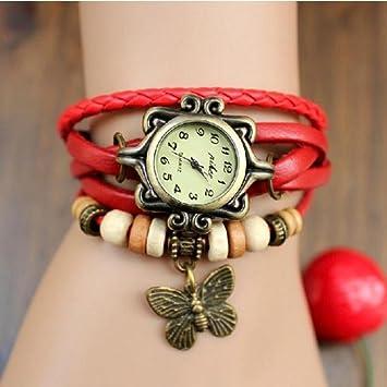 Reloj Mujer Pulsera Hippie Vintage Perlas y Mariposa