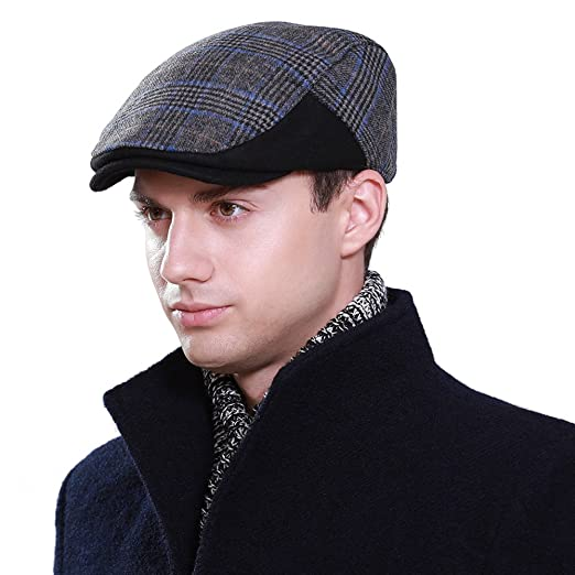 b3aefb97829 VEC Mens Winter Wool Newsboy Cap Fitted Ivy Flat Driving Hunting Cold  Weather Hats