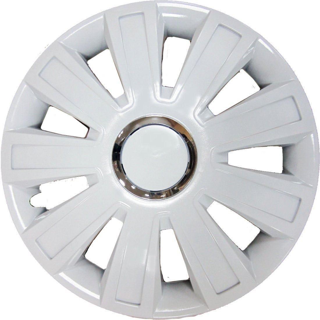 UKB4C 4x White Wheel Trims Hub Caps 15 Covers fits Ford Vauxhall Astra H Corsa D