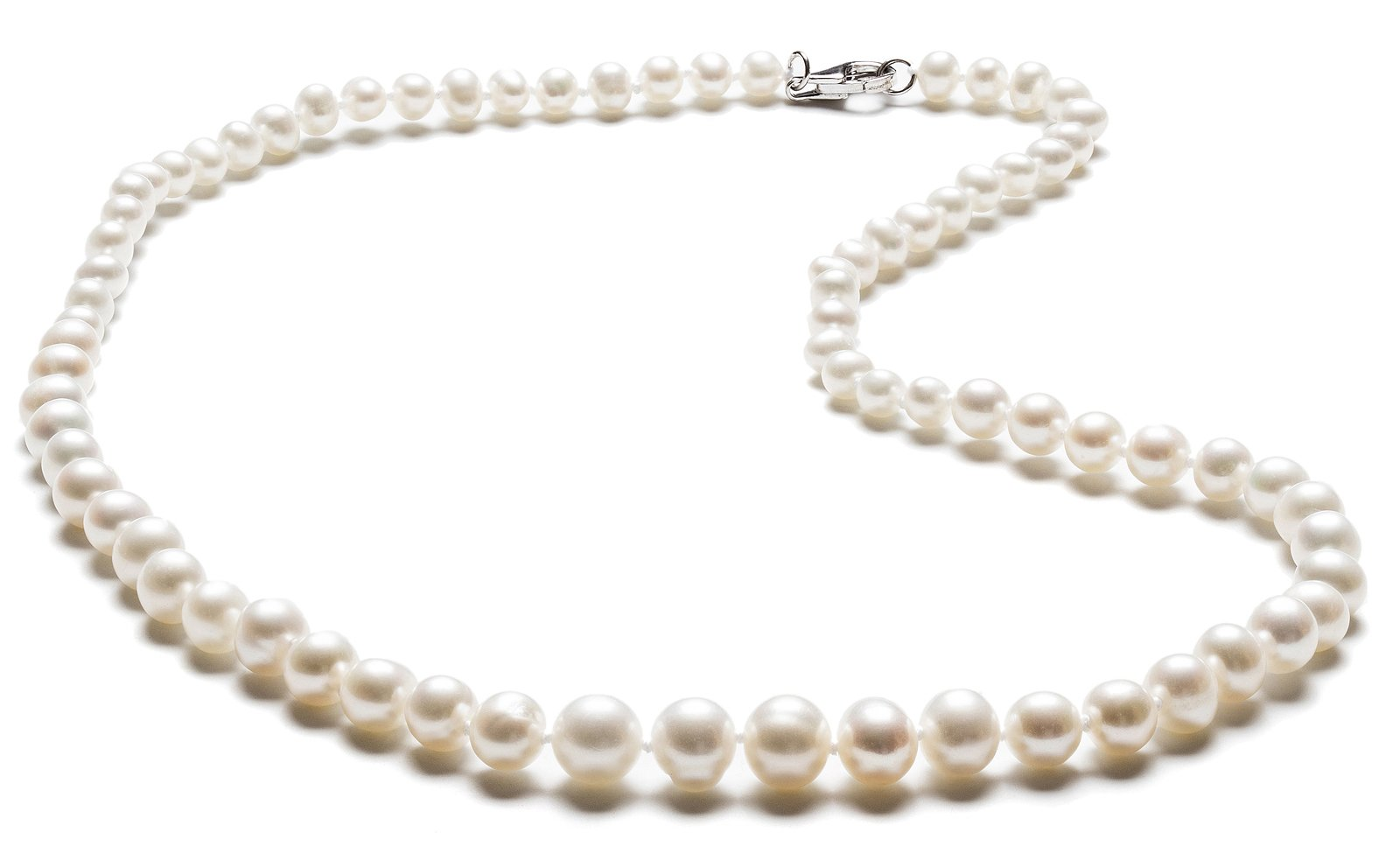 SilverLuxe Sterling Silver Genuine Freshwater Pearl Graduated Necklace 4-8mm 18''
