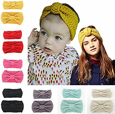 Fletion Mother /& Baby Knitting Wool Hair Band Hairband Toddler Knotted Headband Parent Child Head Wrap