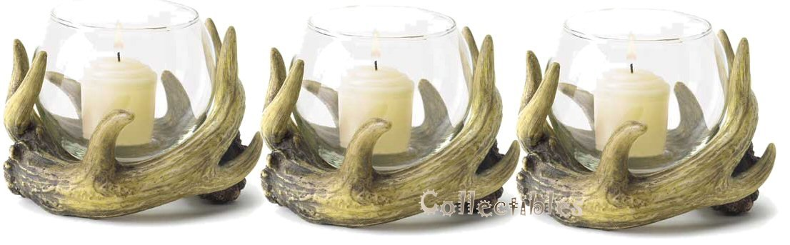 Rustic Antler Cabin Lodge Candle Holders Set of 3 - ChristmasTablescapeDecor.com