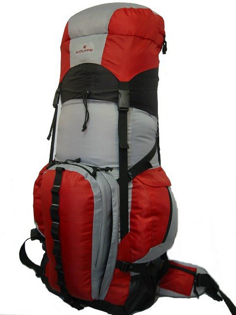 K-Cliffs Expandable Hiking 6000Ci-8000Ci Camping Backpack Scout Daypack Aluminum Frame Sport Pack Outdoor Big Travel Bag, Red/Grey