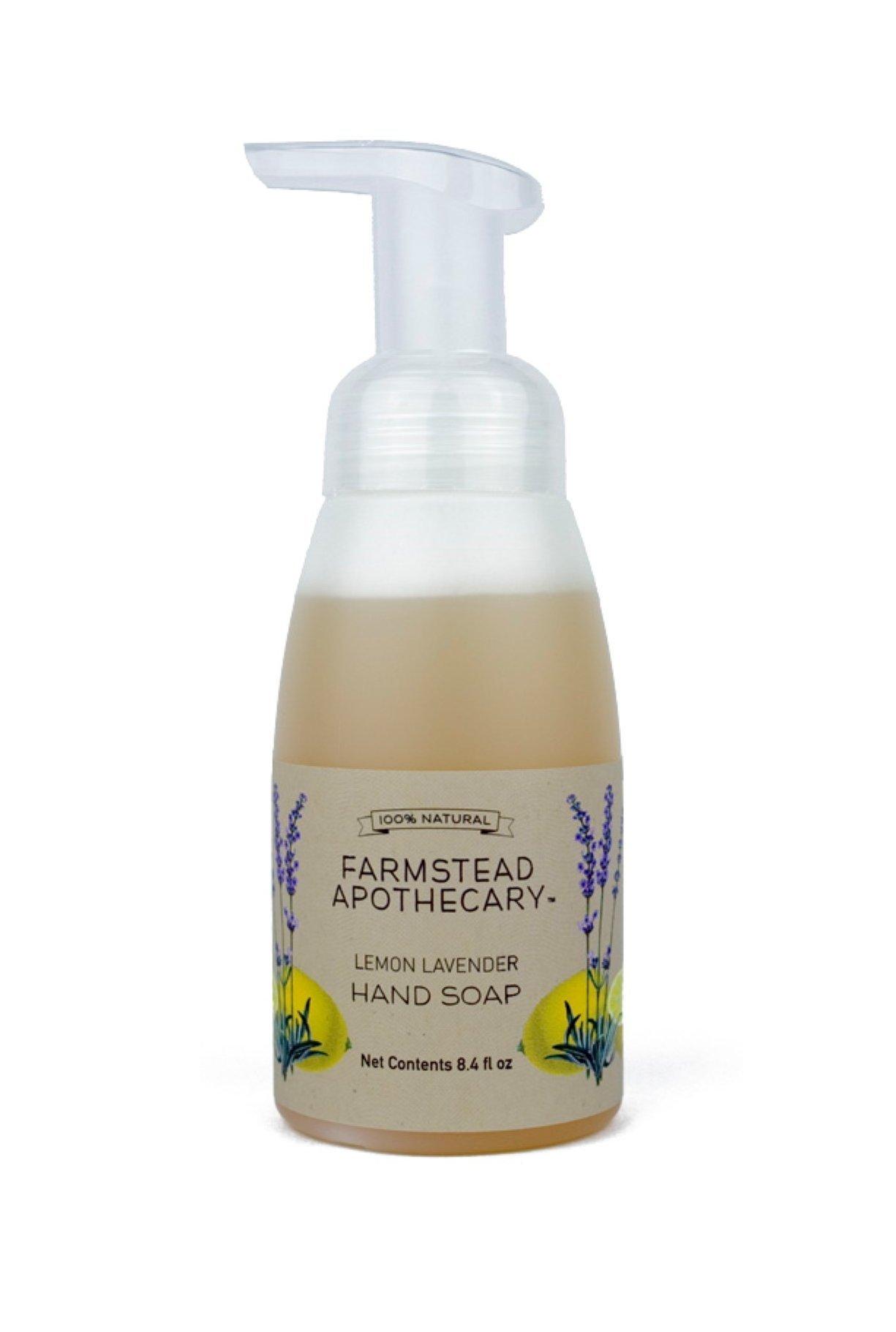 Farmstead Apothecary 100% Natural Foaming Hand Soap with Organic Coconut Oil & Organic Vitamin E Oil, Lemon Lavender 8.4 oz