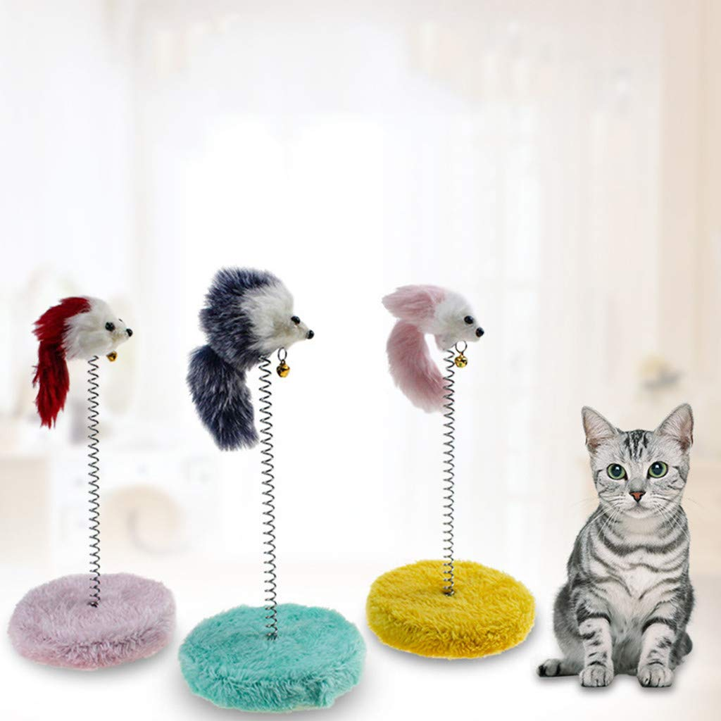 Glumes Cat Toy Scratch Board Feathers Spring Mouse Colored Funny Scratching Pad - Scratcher with Spring Post Fish Naturals Handmade Color Varies