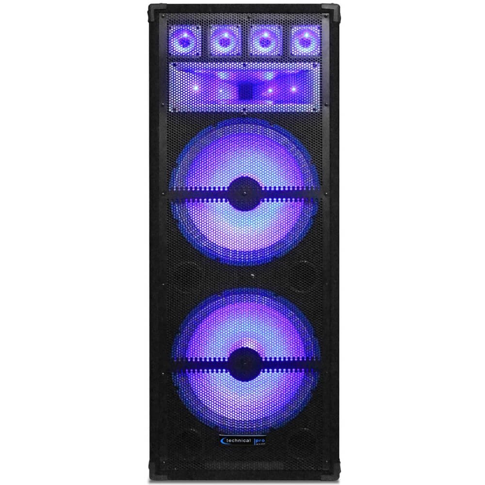 Technical Pro VRTX215LED Dual 15 7-Way 1800 Watt Carpeted Cabinet Speaker Cabinet With LED Lights