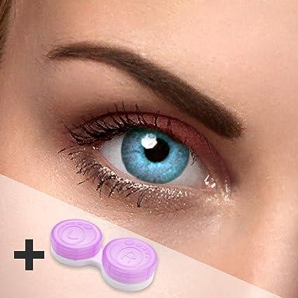 Eye Effect farbige Kontaktlinsen in vielen Farben für schöne natürlich Augen + gratis Kontaktlinsenbehälter (Blau Sky)