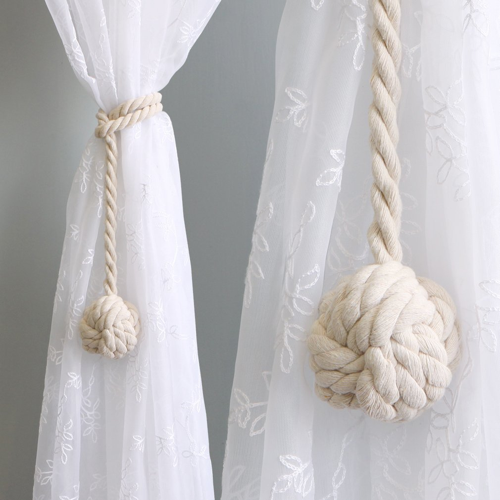 Valea Home Decorative Cotton Rope Curtain Tiebacks with Single Ball, Soft and Thick Tassel Hand Knitting Tie Backs Holdbacks for Blackout Curtains Draperies, Set of 2, Beige