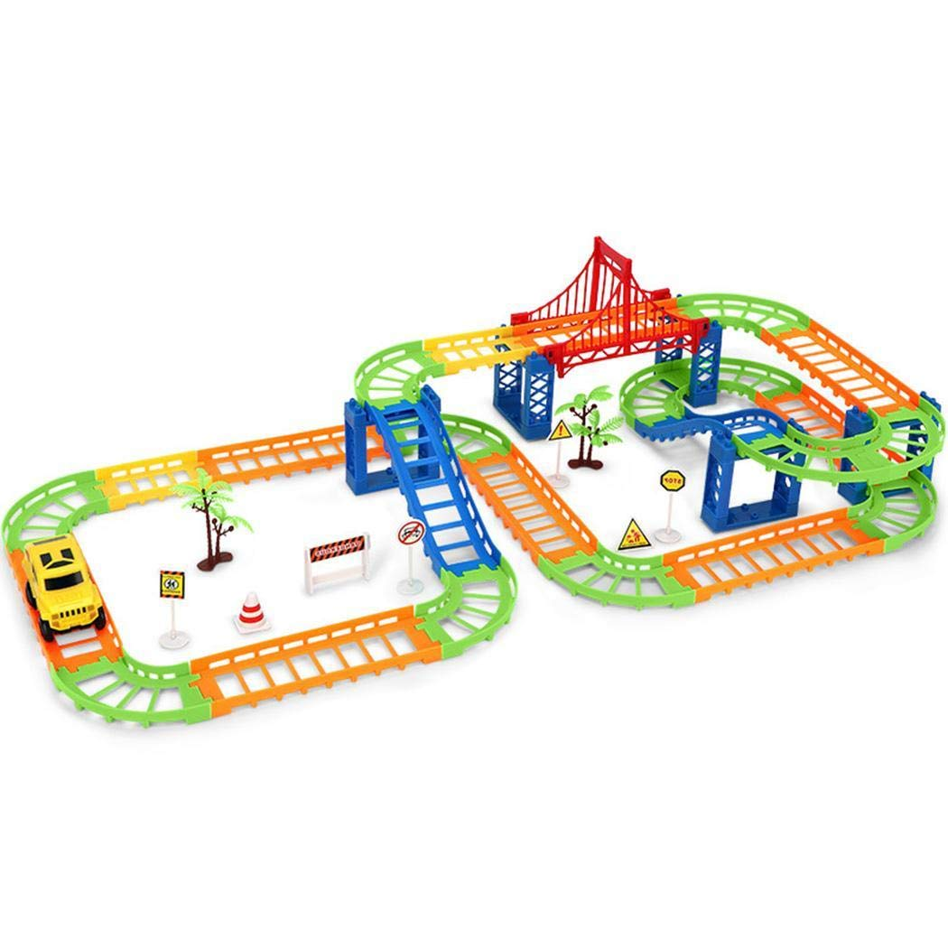 Sunywear Durable Children DIY Double Layer Electric Rail Car Set Assembling Toys Educational Toy Push & Pull Toys