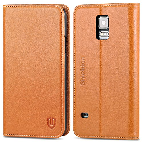 Galaxy S5 Case, SHIELDON Genuine Leather Case Premium Wallet Case Flip Book Style with Stand Feature & ID Credit Card Compartments [Magnetic Closure] for Samsung Galaxy S5, Brown