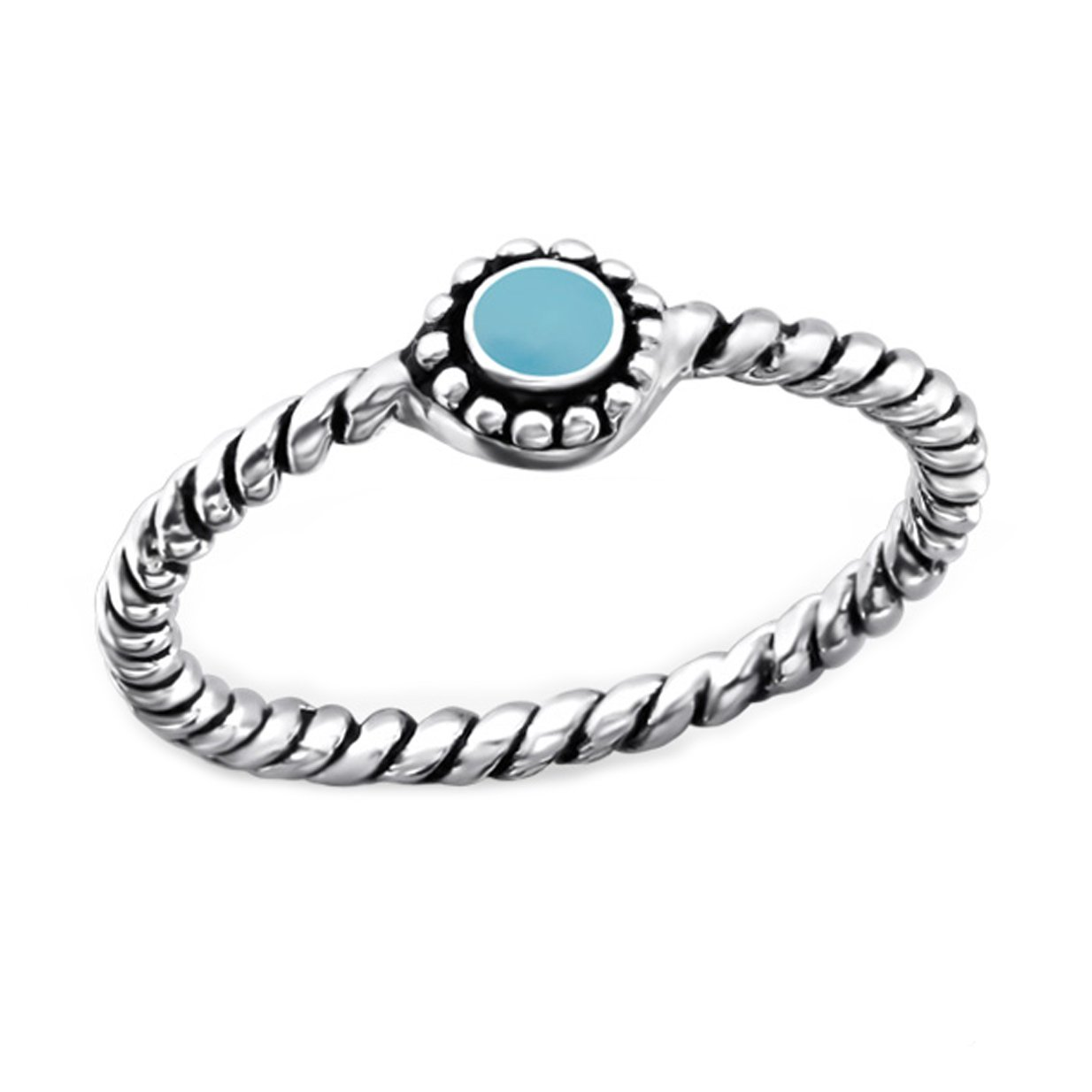 Midi Ring Sterling Silver 925 Blue Turquoise Boho Vintage Antique Style US Size 3.5 (E23804)