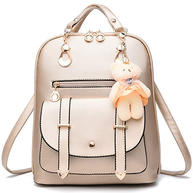 396184ebf569 Women s Backpack PU Leather Zipper Closure Casual Shoulder Bag Travel  Handbag School Bags Ladies Rucksack(