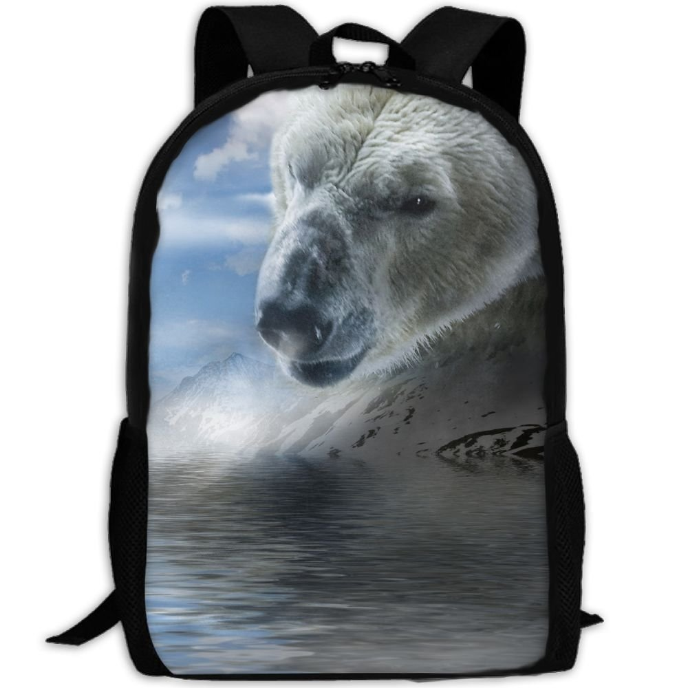 CY-STORE The Polar Bear Animal Of Snow Outdoor Shoulders Bag Fabric Backpack Multipurpose Daypacks For Adult