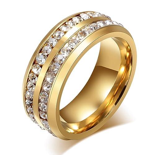 Unisex 8 mm titanio acero inoxidable 18 K oro anillo juego de canal circonitas cúbicas,