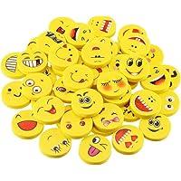 MINGZE 36 x Emoji emoticon lápiz gomas borrar lindos, regalo de regalo para la fiesta de cumpleaños fiesta de los niños…
