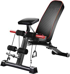 Adjustable Benches Dumbbell bench fitness exercise chair supine board multi-functional abdominal board sit-ups fitness equipment household abdomen ( Color : Black , Size : 138*56*59cm(54*22*23in) )