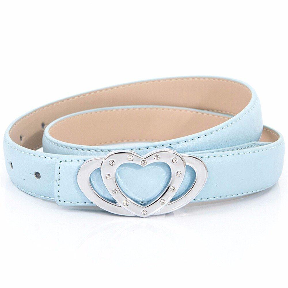 SAIBANGZI Ms Women All Seasons Professional Frock Belt Fine Dress Decorate Belt Love Rhinestones Girlfriend Present Blue 85-100Cm