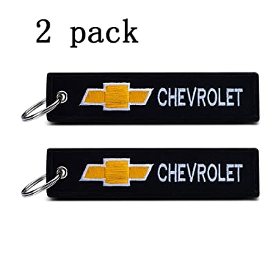 JIYUE 2Pack Embroidered Tag Keychain Key Ring for Chevrolet Car Motorcycles Bike Biker Key Chain Bag Phone ChainAccessories Gifts……: Automotive