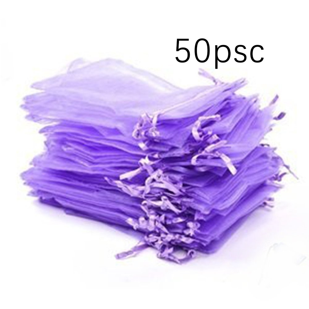 Pack of 50 Light Purple Organza Drawstring Party Favor Bags