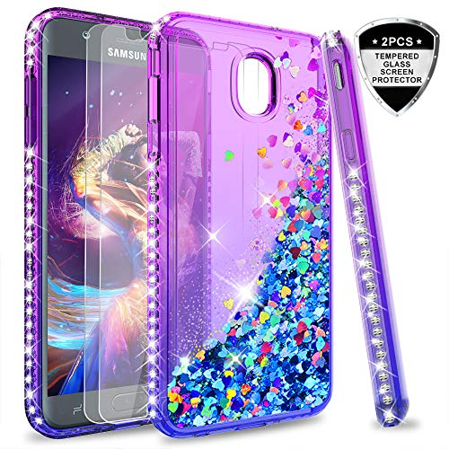 Galaxy J7 Refine/J7 2018/J7 Star/J7 Top/J7 Aura/J7 Aero/J7 Crown/J7 Eon Glitter Case with Tempered Glass Screen Protector for Girls,LeYi Bling Diamond Liquid Case for Samsung J7 V 2nd Gen Purple/Blue