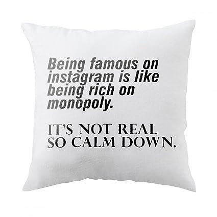 Almohada con ser famoso en Instagram es como ser rico en Monopolio. No es real
