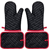 IFAXF Oven Mitt and Potholders, Heat Resistant Oven Mitts Kit, Kitchen Cooking Gloves.