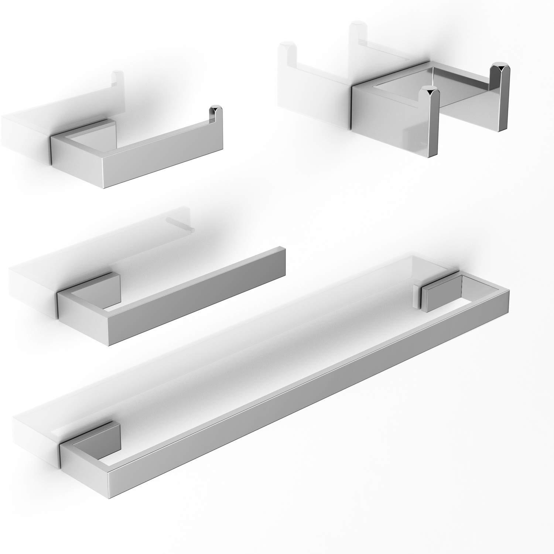 LuckIn Brushed Nickel Bathroom Accessories Set, Modern Style Towel Bar Set, 4-PCS Bath Hardware Set for Bathroom Remodel