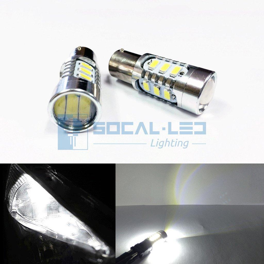 SOCAL-LED 2x BAY15d 1157 LED Bulbs 15W SMD 5730 High Power Bright Turn Signal Light, Brake Light, Tail Light, White Car led light